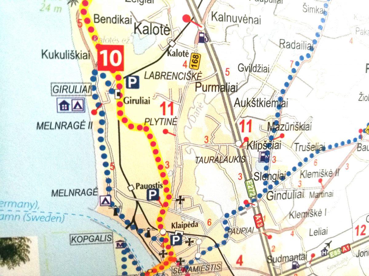 """Dviračių takai Klaipėdoje / """"Baltic Bike Travel"""" žemėlapis """"Dviračiais geležinės uždangos trasa """"Euro Velo 13""""""""."""