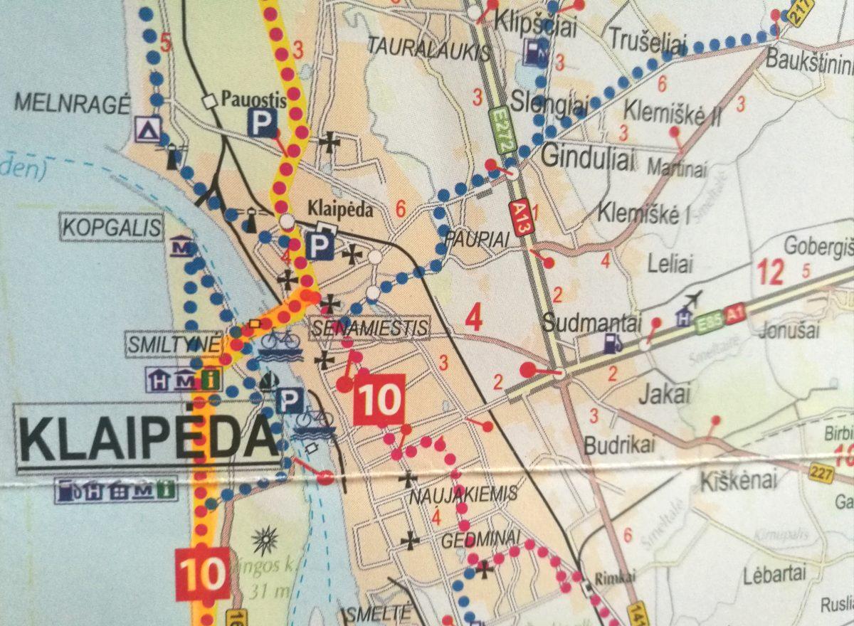 """Dviračių takai Klaipėdoje / """"Baltic Bike Travel"""" žemėlapis """"Dviračiais geležinės uždangos trasa Euro Velo 13"""""""